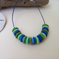 Polymer Clay Beaded Necklace, long adjustable hemp necklace, cool blues and greens