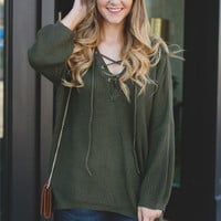 Perfect Lace Up Sweater - Hunter Green