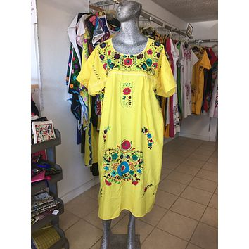 Mexican Handmade Traditional Dress Bright Yellow/Plus Size