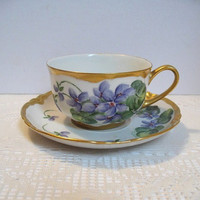 Vintage Teacup Hutschenreuther Selb LHS Bavaria Germany Hand Painted Gilded Cup and Saucer
