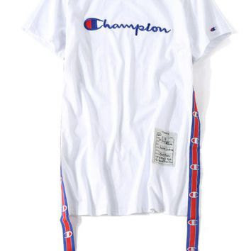 ONETOW Champion Embroidery tide brand loose large size short - sleeved Europe and America long paragraph streamer dress