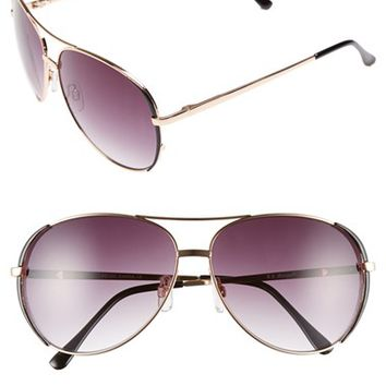 Women's A.J. Morgan 'Sideline' 61mm Aviator Sunglasses - Gold/