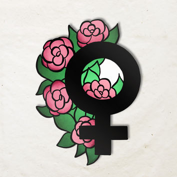Female Symbol with Flowers Sticker