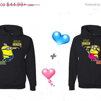 Valentine Sale He's My Minion She's My Minion with Soul Mate Matching Couples Hoodies Sweatshirts in Black. Personalize by adding name or da