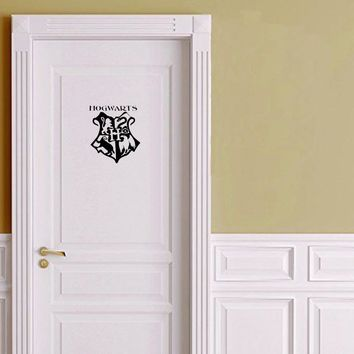 Interesting  Harry Potter Hogwarts Coat Of Arms Cut Quote Vinyl Door Sticker  Artistic Wall Sticker For Kid Bedroom A2270