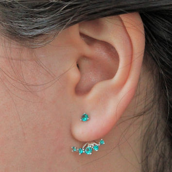 Simple and Beautiful Crystal  Ear Cuffs, Emerald Green and Ruby Red, Ear Jackets, Gift Ideas