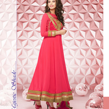 Pink Anarkali suit in pure Chiffon