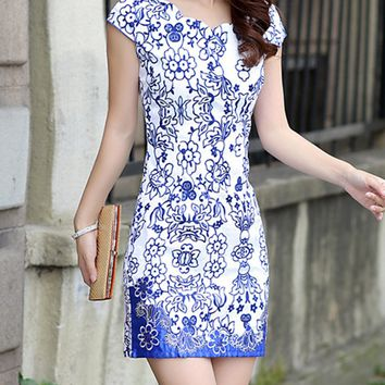 Streetstyle  Casual Blue And White Porcelain Printed Scallop Mini Bodycon Dress