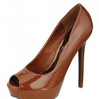BROWN PEEP TOE HEELS @ KiwiLook fashion