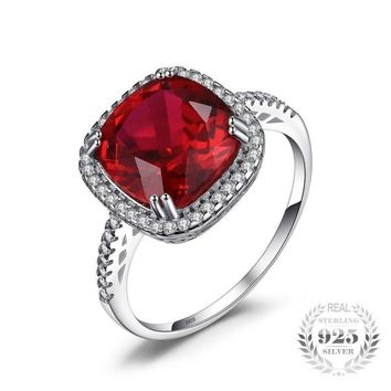 Square Pigeon Blood Red Ruby Ring 925 Sterling Silver