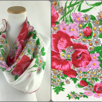 Romantic Red Pink White Large Vintage Floral Silk Head Scarf Red & Pink Flowers on White Large Square Silk Neck Scarf Valentines Scarf