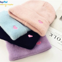 FREE DHL SHIPPING COZY PASTEL HEART BEANIE CAP sold by Moooh!!