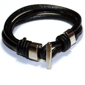 Men Leather Bracelet - For him, black, gift ideas, genuine leather cord, man gift ideas, boy, teen, boyfriend, friend, brother, son