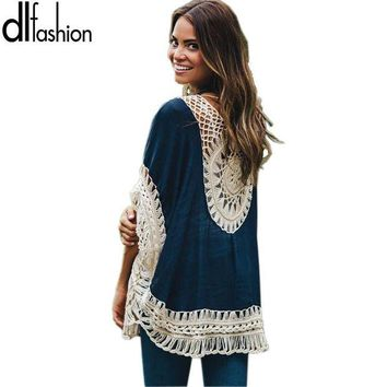 ONETOW Big size bohemian handmade crochet lace women blouses shirts beach cover up patchwork loose batwing sleeve pareos ladies blouse