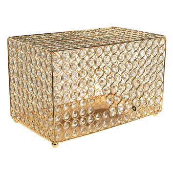 Crystal Money Card Box Wedding Centerpiece, 13-3/4-Inch, Gold
