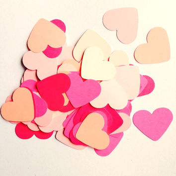 Pink ombre heart confetti cutouts for gender reveal parties, wedding showers, Valentine's Day table confetti, or scrapbooking die cuts