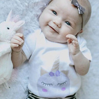 Unicorn baby Onesuit for newborn, 6 months, 12 months, and 18 months kids graphic shirt, baby girl clothing