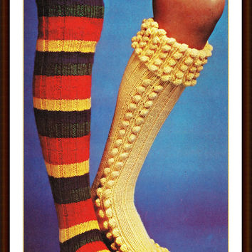 Slipper Socks leggings Pattern Vintage Long Bright Socks Knitting Pattern Vintage Pattern PDF Instant Download epsteam red knitting pattern