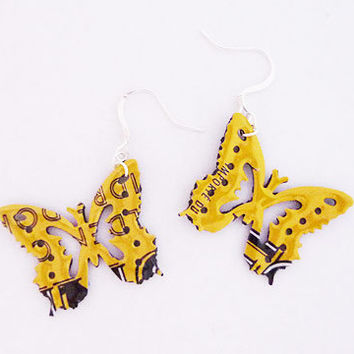 Yellow and black butterfly earrings made from Foundry Cider  can -  soda can - soda can earrings - Handmade earrings