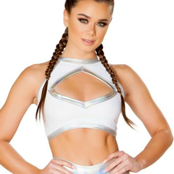 White Holographic Trim Keyhole Rave Crop Top