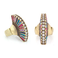 Gold-Tone Metal Many Multicolor Crystal Ring