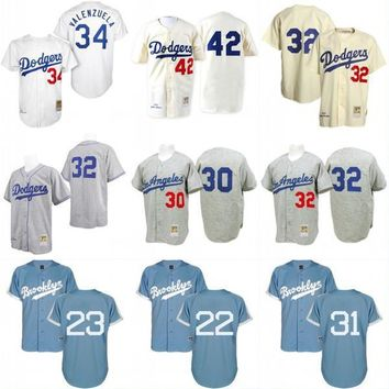 Los Angeles Dodgers Throwback Jersey 34 Fernando Valenzuela 42 Jackie Robinson Men's 100% Stitched Embroidery Logos Baseball Jerseys
