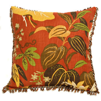 Canaan Company P-452-P 18x18 Wood Bead Trim Accent Pillow