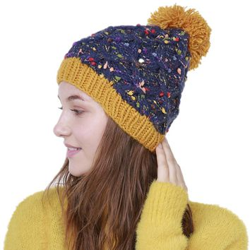 Winter Hat Women With Ball Rhombus Knitted Beanie Warm Hats Casual Female Skullies Beanies Pom Pom Cap Dot Woolen Knit Caps