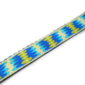 Blue Lime Aqua Boho Hippie Dog Collar