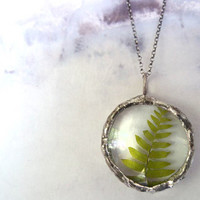 Faeries of the Fern Glass Pendant Necklace by RenataandJonathan
