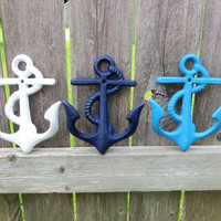 Three Anchor Wall Hooks in Beach Cottage colors