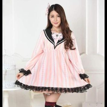 Sweet Pink Striped Long Sleeve Sailor Collar Empire Waist Lolita Dress with Lace Trimming