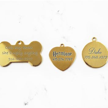 Gold Engraved Dog ID Tag, Stainless Steel, Mirror Finish