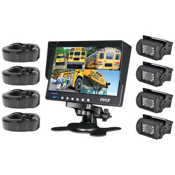 Pyle Weatherproof Backup Camera System With 7'' Lcd Color Monitor & 4 Ir Night Vision Cameras