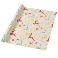 Cute Christmas Reindeer and Stars Patterned Wrapping Paper