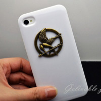 Hunger games mockingjay iPhone 4 4S Case,white sugar Apple iPhone 4 / 4s Case, with antique brass Hunger Games logo CHG01W