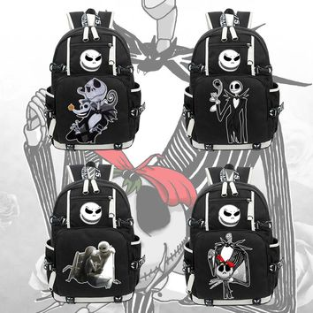 The Nightmare Before Christmas canvas Backpack Jack Skellington zip school bag cosplay shoulder bag Rucksack laptop bag packsack