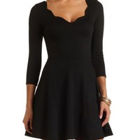 Scalloped Chevron-Textured Skater Dress by Charlotte Russe - Black