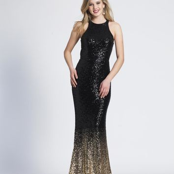 Dave & Johnny - 3936 Ombre Sequined Halter Trumpet Dress