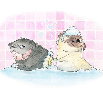 Rub-a-Chub-Chub, Two Pugs in a Tub! - Cute Pug Bath Art Print & Bathroom Decor from an original Ink and Watercolor painting by InkPug!
