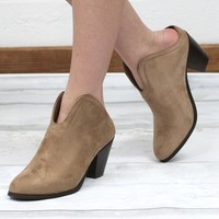 Slip On Suede Mule Bootie {Taupe}