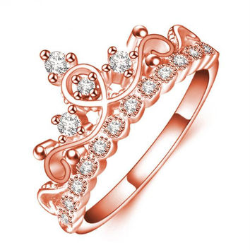 Electroplating rose gold crown and rhinestone ring
