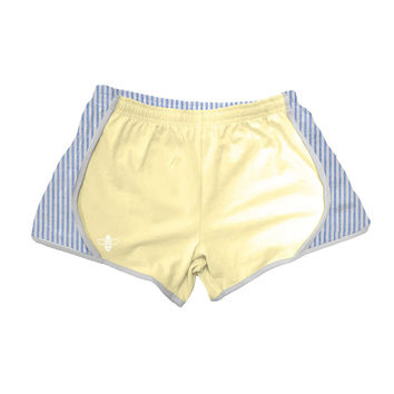 Yellow Jersey with Navy Seersucker Shorts by Lily Grace - FINAL SALE