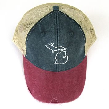 Michigan State Outline Trucker Hat- Distressed Snapback
