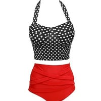 S-XL Sexy Women's Vintage Push Up High Waist Bikini Set Bandage Swimwear Hot Sexy Bathing Suits Plus Size Two Piece Swimsuit F9