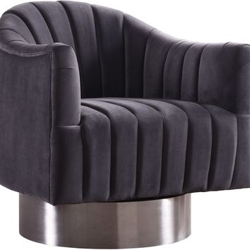 Farrah Grey Velvet Swivel Accent Chair With Chrome Base