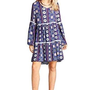 Velzera Crochet amp Bell Sleeve Bohemian Print Tunic Dress reg amp Plus Size