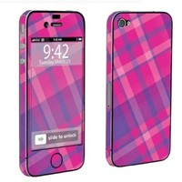Apple iPhone 4 or 4s Full Body Decal Vinyl Skin - Plaid Pink By SkinGuardz