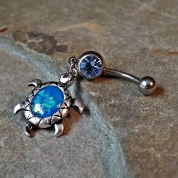 Turtle Fire Opal Blue Belly Ring Navel Ring Body Jewelry 14ga Surgical Steel Belly Button Jewelry