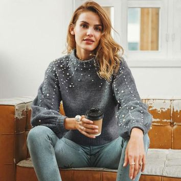 Beads High Neck Long Lantern Sleeves Cropped Pullover Sweater